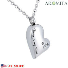 Mom Forever In My Heart Cremation Crystal Memorial Urn Ash Holder Necklace
