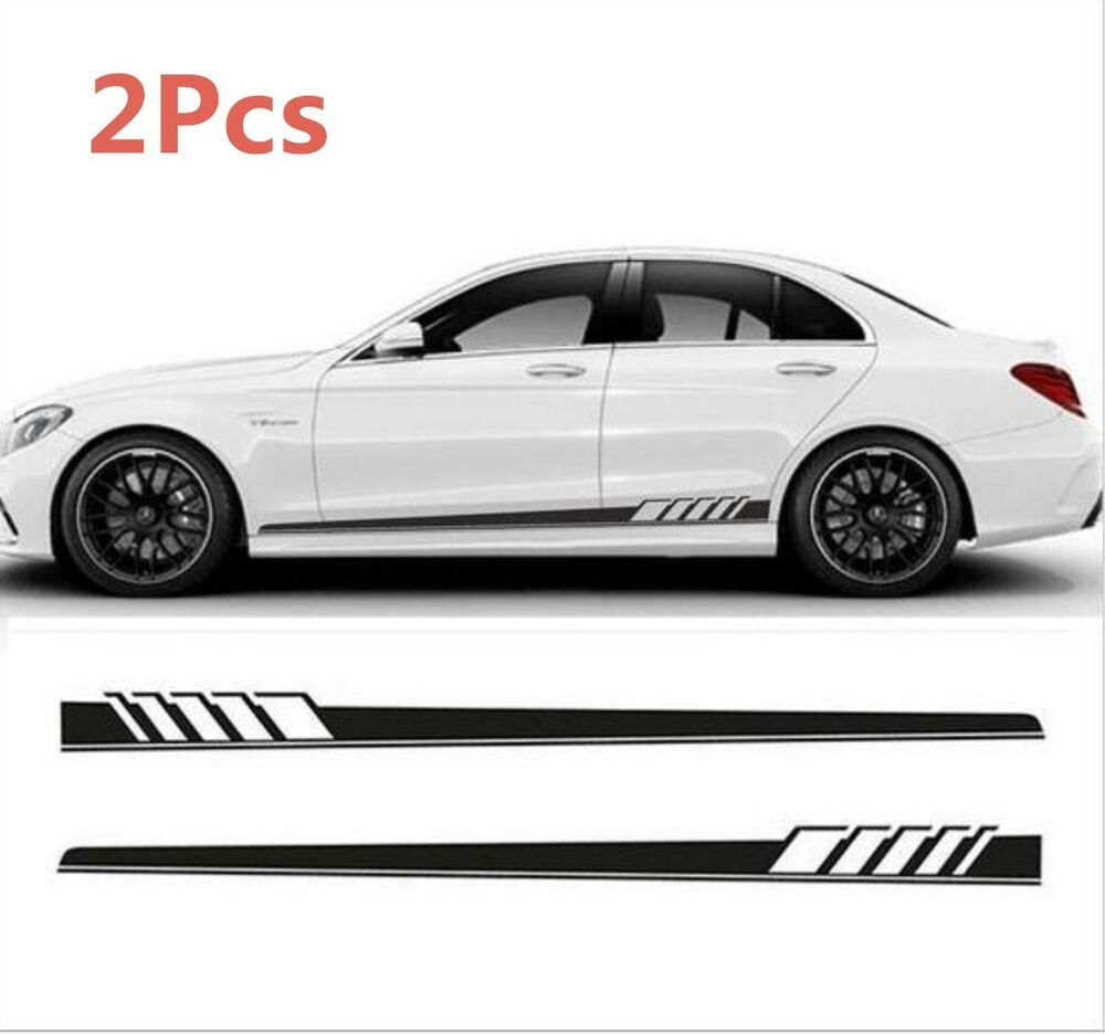 Details about 1 pair auto body graphic stickers sports racing race car long stripe decals