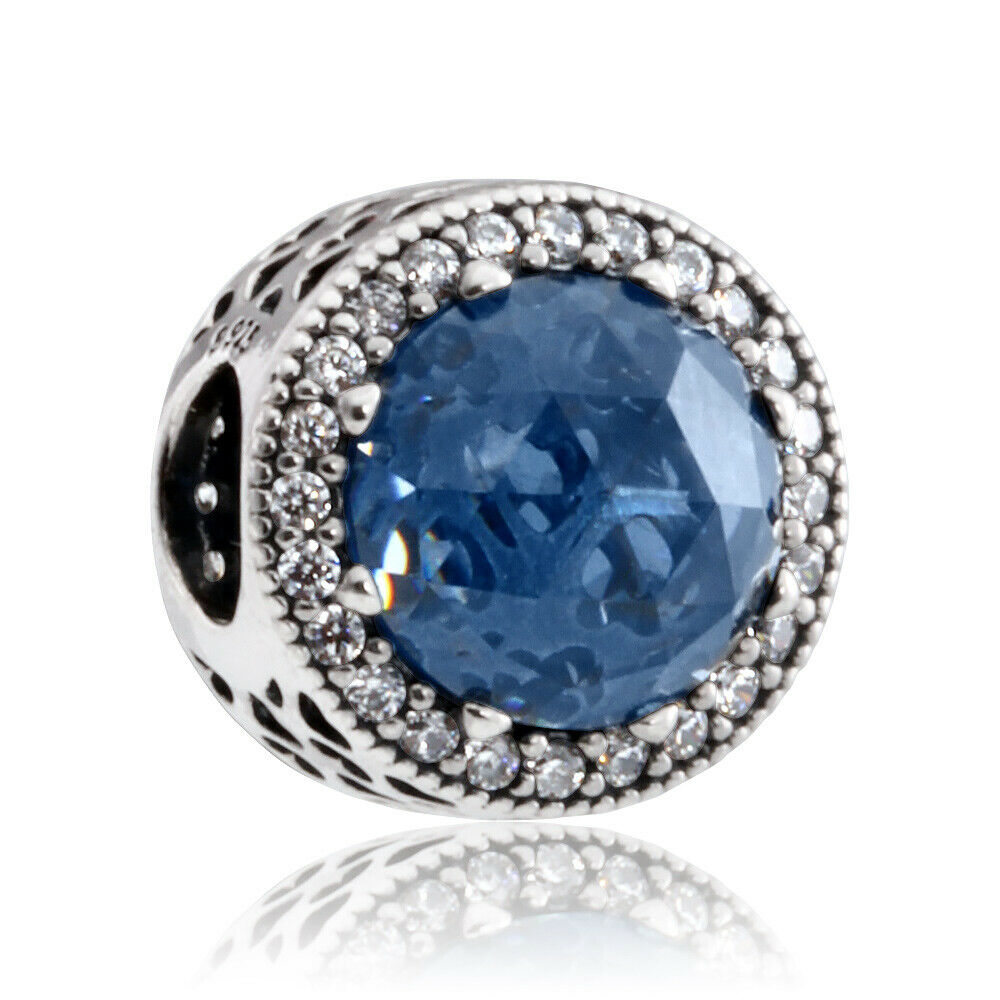 65e9b5f36 Details about Pandora Midnight Blue Radiant Hearts Silver Charm with Clear  CZ 791725NMB