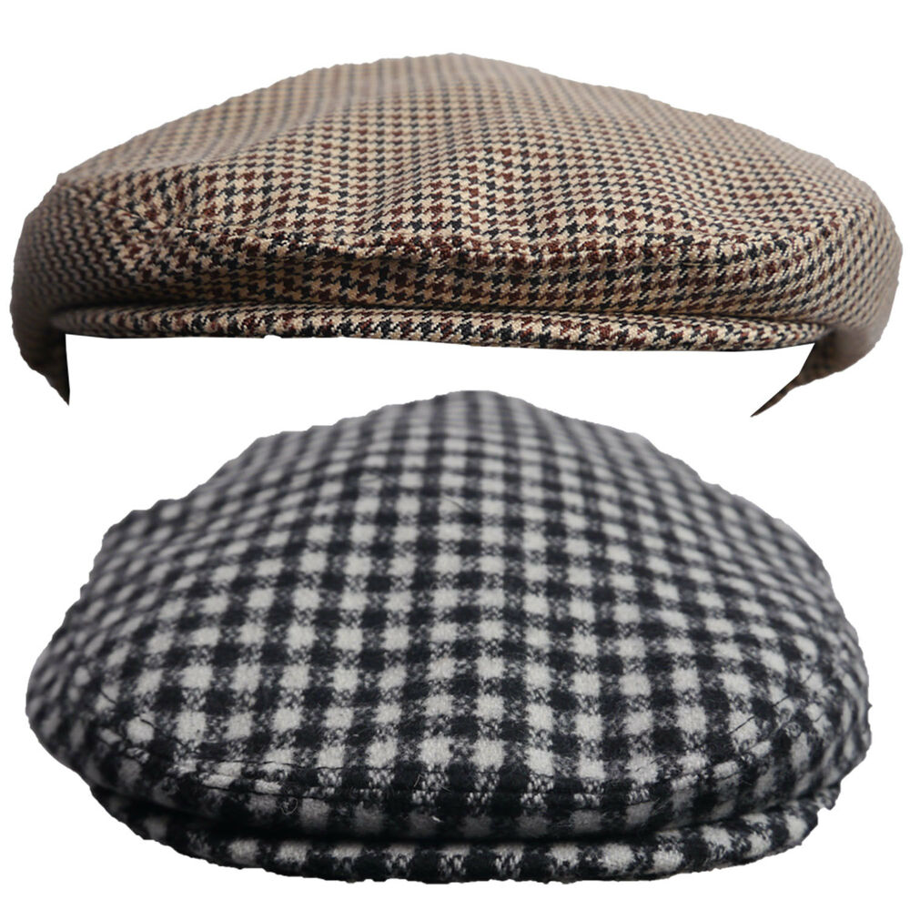 2191ffc9cfbca Details about Boys Girls Flat Cap Country Houndstooth Check Black White  Brown Orange