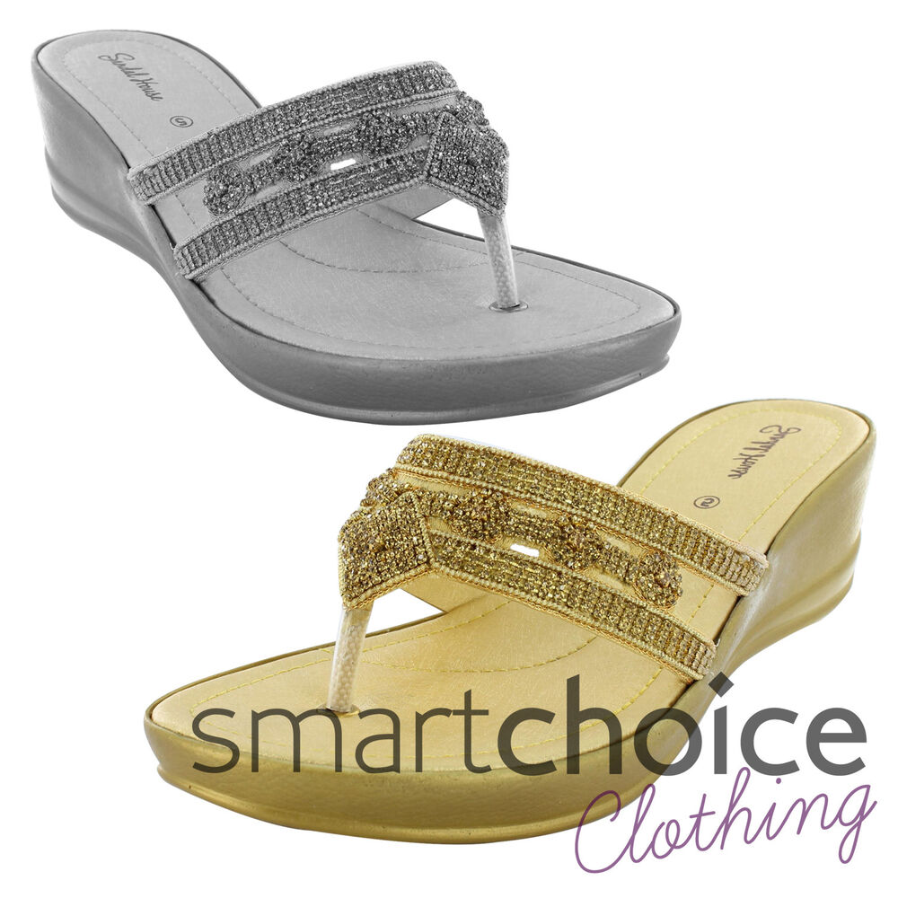 e699baff99f5d Details about Ladies Silver   Gold Diamond Sequin Pattern Occasion Wedding  Party Sandals Wedge