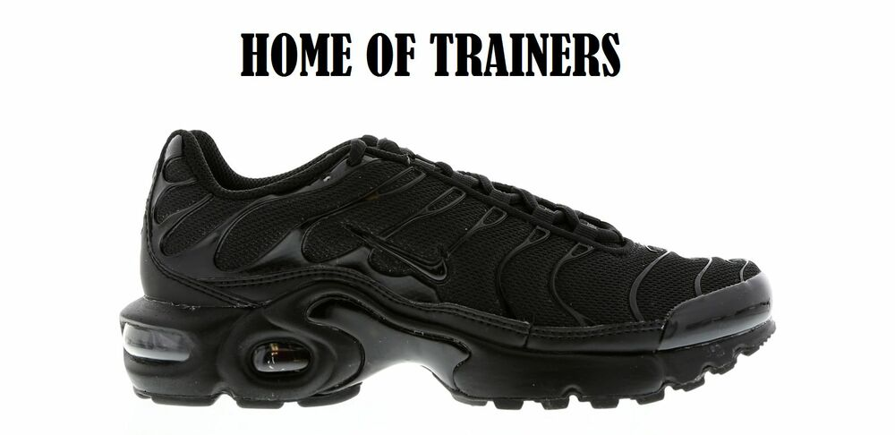 best cheap 2e877 addcb Details about NIKE AIR MAX PLUS TNS(GS) TRAINERS TRIPLE BLACK ALL SIZES 3 4  5 6 7