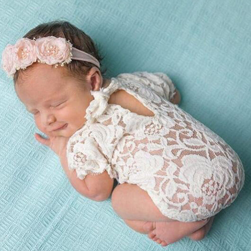 5c103a7e0 Baby Infant Photography Props Lace Costume Newborn Baby Romper Headband  Outfit   eBay