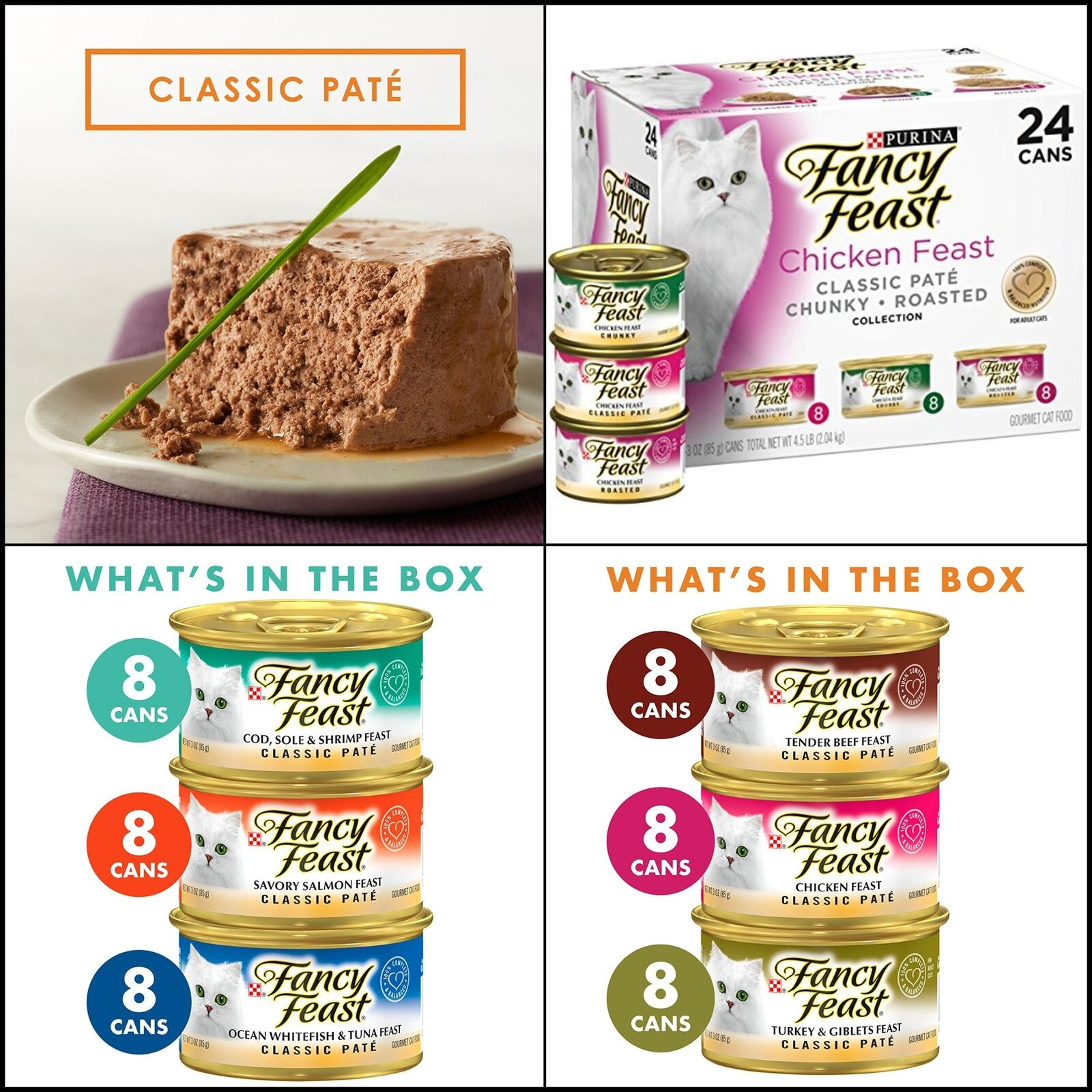 Fancy Feast Wet Cat Food Variety Pack 24 3 Oz.can Grilled Seafood 100% Nutrition
