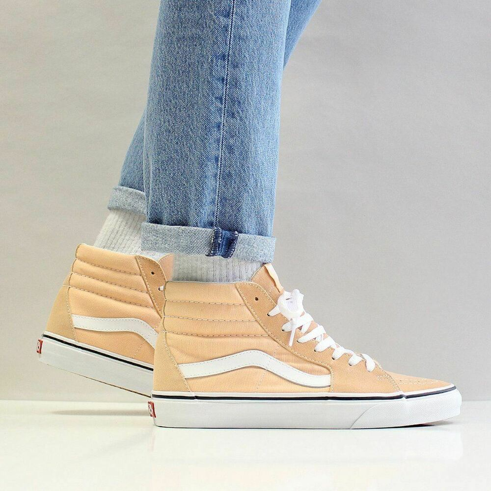 Details about Vans Men s SK8-Hi Canvas Suede Shoes Bleached Apricot Orange  True White 1492bd056