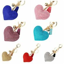 US Heart Shaped Crystal Keychain Rhinestone Keyring  Charm Pendant Bag Purse