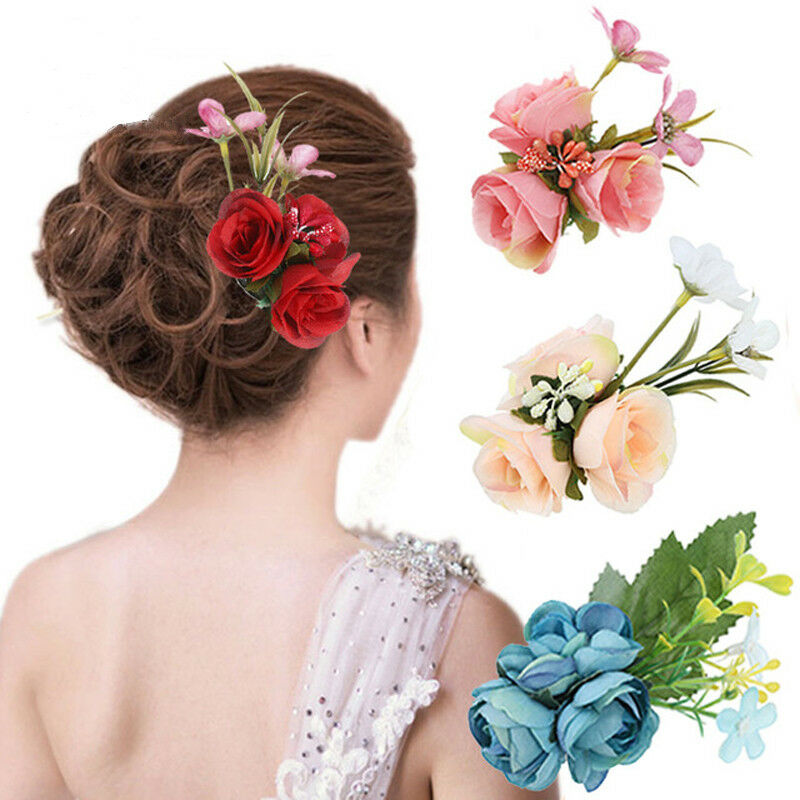 Flower Hair Pins For Wedding: Women's Fabric Flower Hair Pin Brooch Bridal Wedding Party