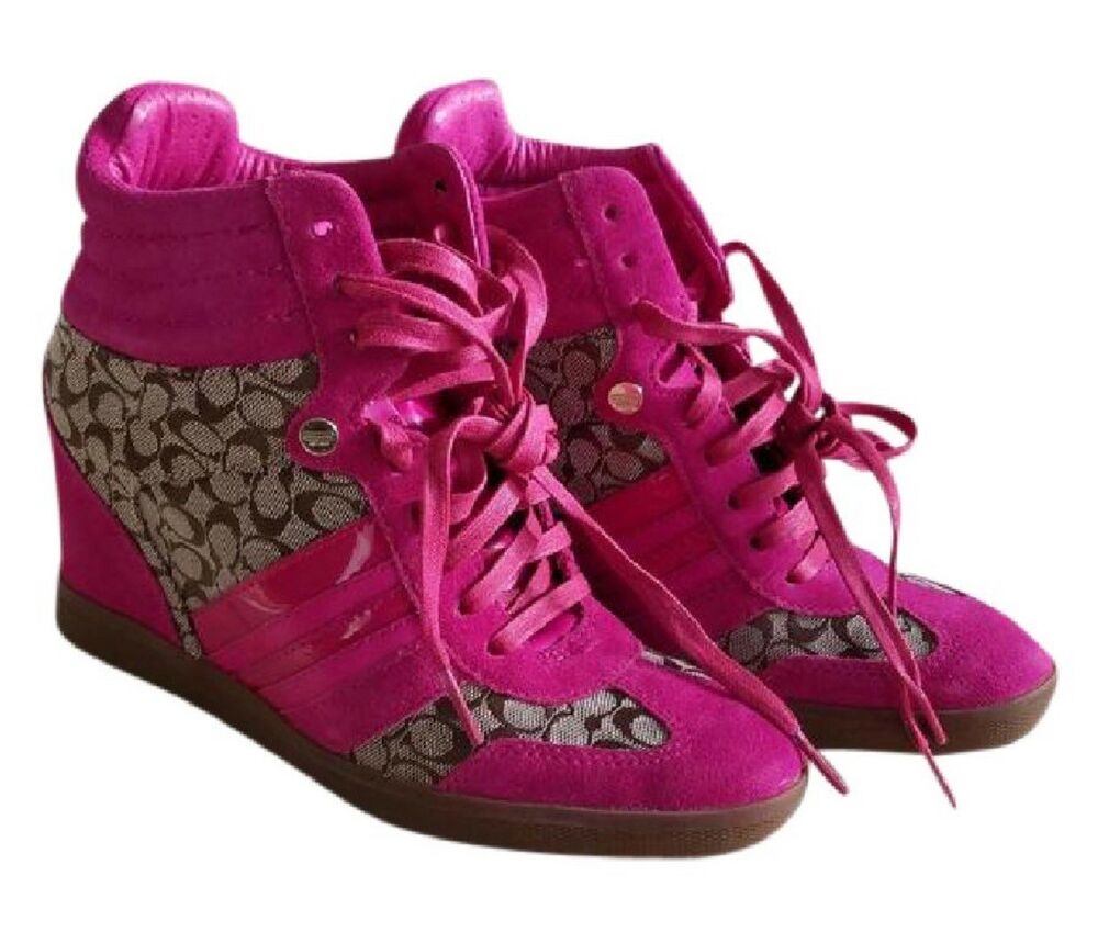 a584ae4e092 Coach alara womens fuschia signature suede leather wedge heel sneakers ebay  jpg 1000x849 Coach alara wedge