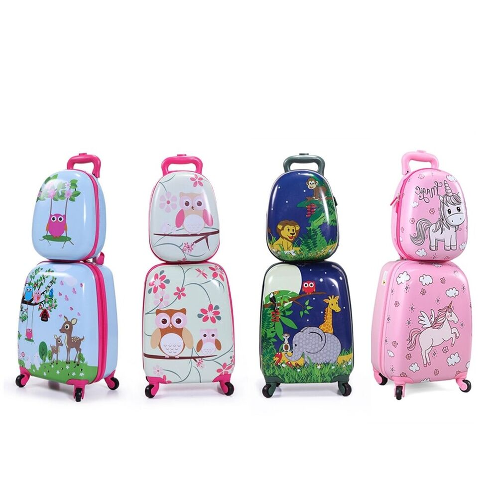 Details about 2Pc Carry On Luggage With Wheels Kids Rolling Suitcase  Backpack Cute Travel Set d8b1785336