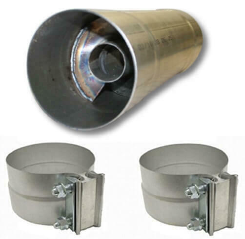 """W//Clamps FTE Resonator muffler 5x17.5/"""" for 5/"""" exhaust piping RM5517A"""