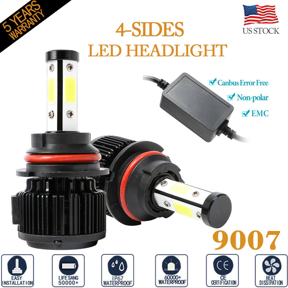 Details About 4Side 9007 HB5 6500K 32000LM LED Headlight Bulb High Low Beam Canbus Error Free