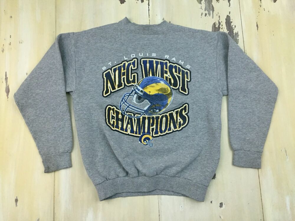 9dfea4297 Details about LA RAMS - Vtg 90s NFL Playoffs Gray Sweatshirt