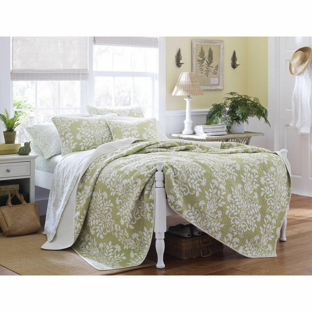 King Size Laura Ashley Sage Floral Cotton 3 Pc Reversible Quilt