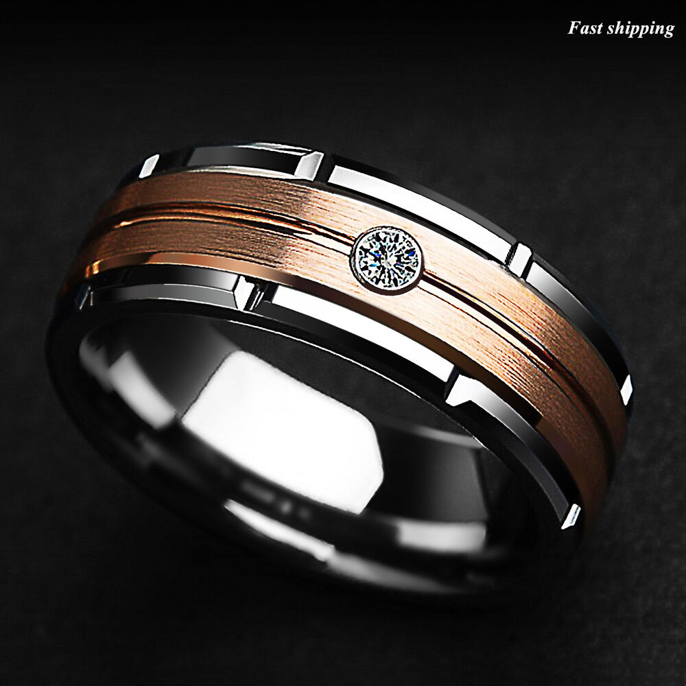 8mm Silver Tungsten Ring Rose Gold Brushed Diamond Atop