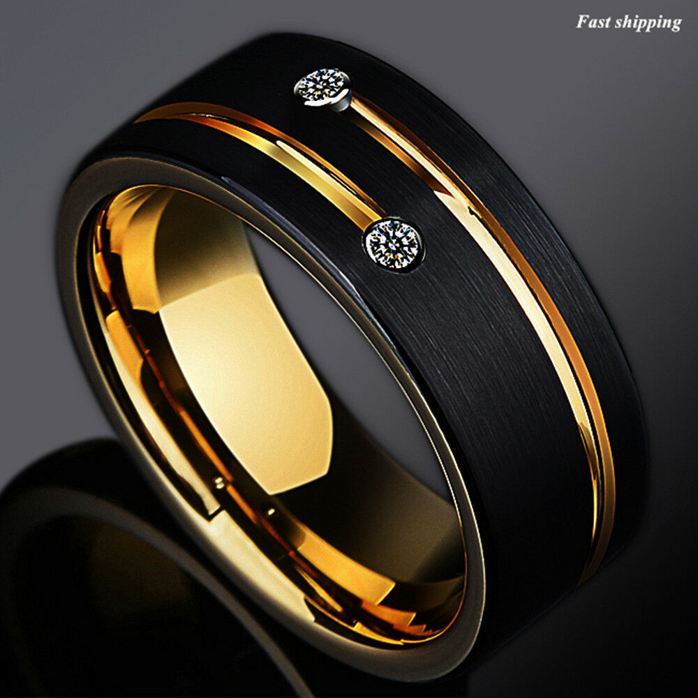 Men S Wedding Rings Diamontrigue Jewelry: 8mm Black Brushed Tungsten Ring Gold Grooved Line Diamond