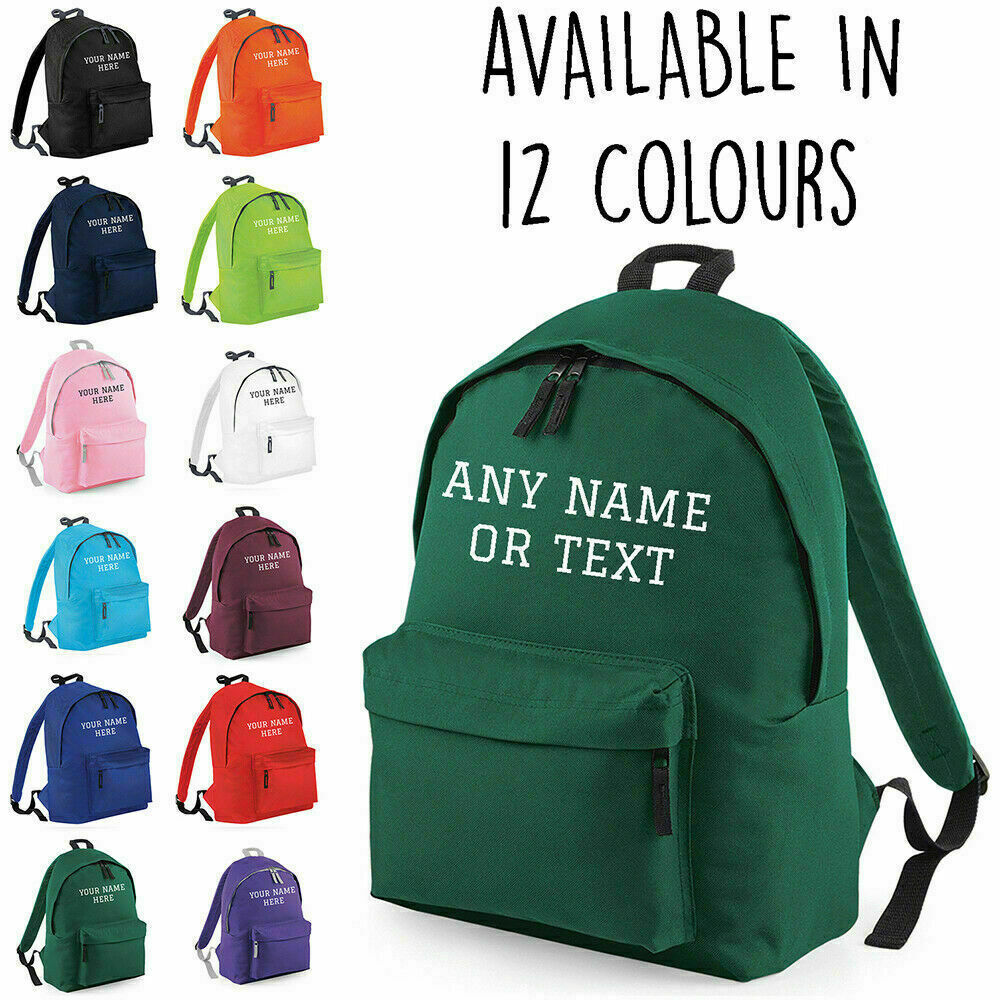 a2c5836c7034 Details about Personalised Kids Backpack Any Name Text Girls Boys Back To  School Bag Rucksack