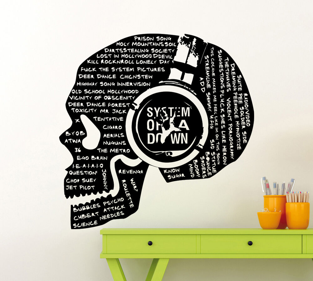 System of down songs titles skull soad wall decal music vinyl sticker mural 35mu ebay