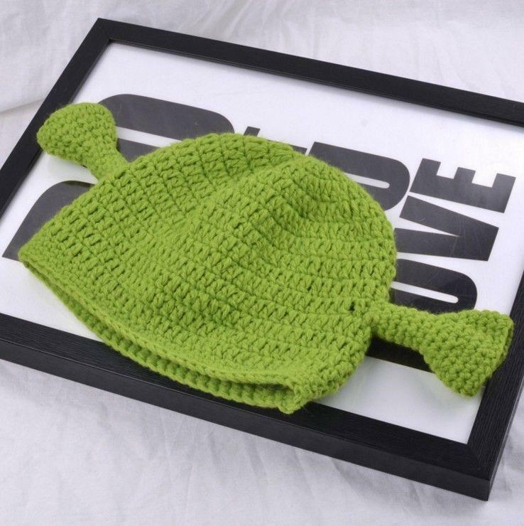Hat Handmade Women Winter Warm Wool Knit Cap Funny Gift A One Size Shrek  Hot Men  9ea94a71572
