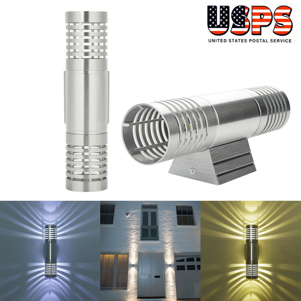 Led Light Enclosed Fixture: LED Modern Exterior Wall Light Dual Head Wall Lamp Fixture