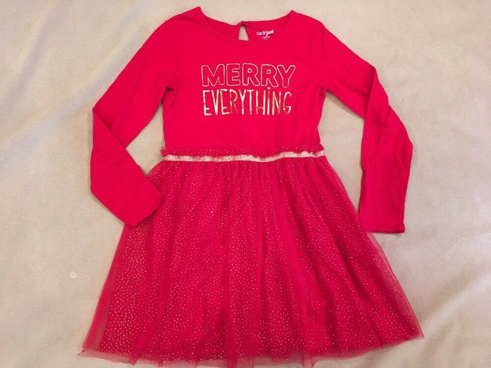 56b3beef64fd Details about Cat & Jack Christmas Dress Red Sparkle Tulle 10-12 Girls  Holiday Fancy