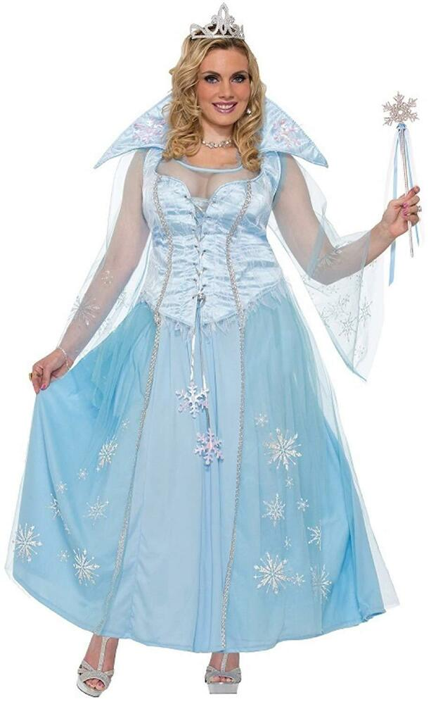 Winter Princess Medieval Blue Fancy Dress Up Halloween Plus Size ...