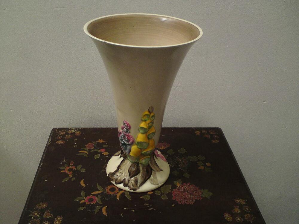 Rare Extra Large 12 Inch Clarice Cliff My Garden Foxgloves Pottery