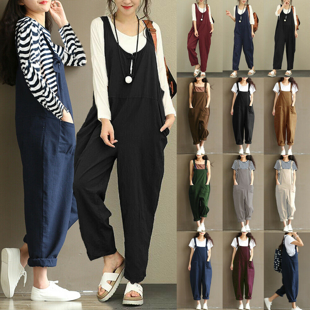 20f87ff93b4 Details about UK Womens Overalls Dungarees Playsuits Loose Jumper Romper  Cami Ladies Jumpsuits