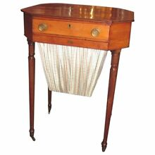 Antique American Federal Mahogany and Maple Sewing Table Circa 1805