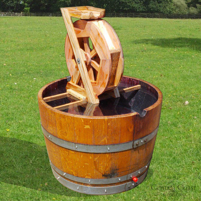 Details About Wine Barrel Water Wheel Fountain Patio Yard Outdoor Electric Or Solar Pump