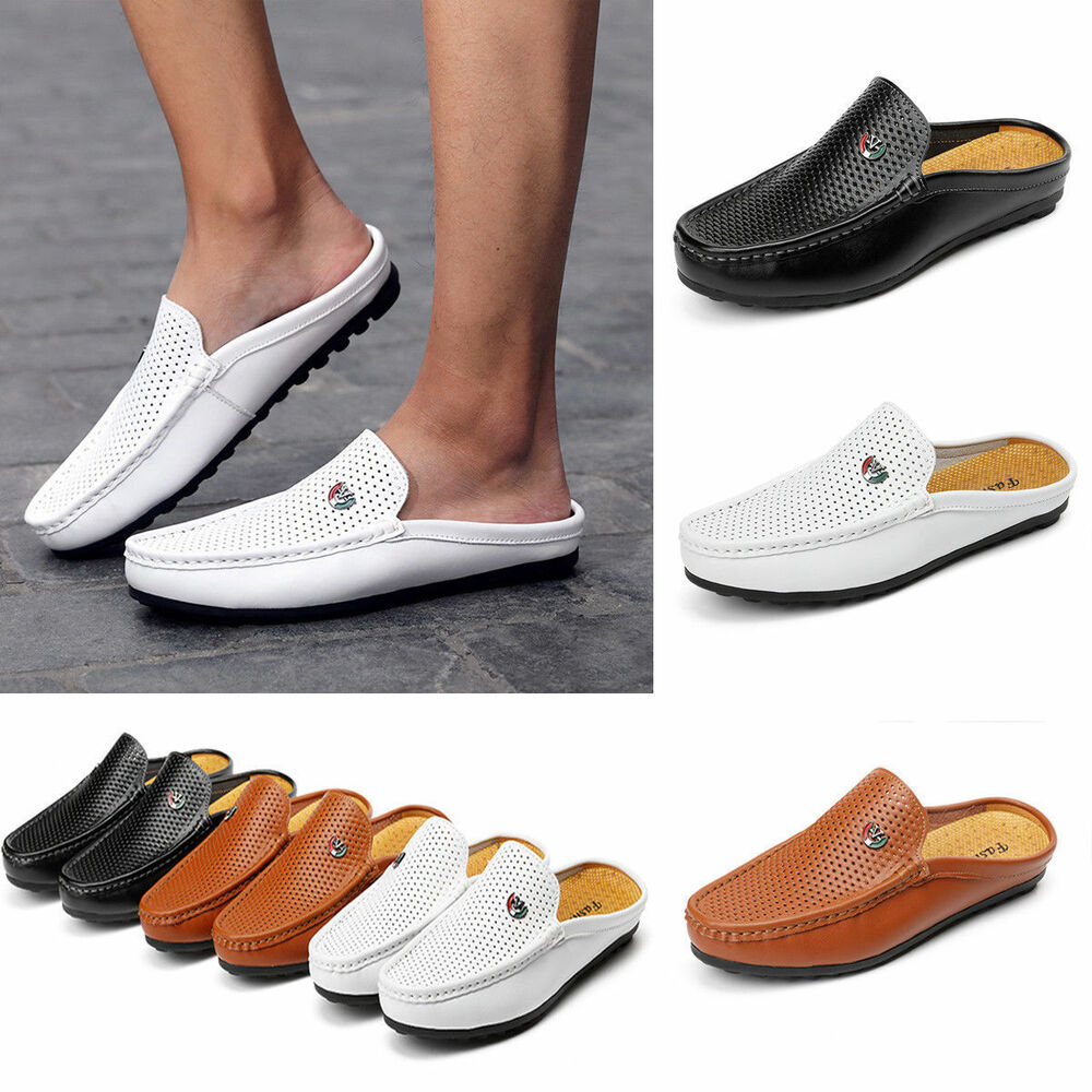 4aeb22ad73f Details about Men s Slip On Hollow Mule Shoes Casual Loafer Driving  Moccasins Leather Slippers