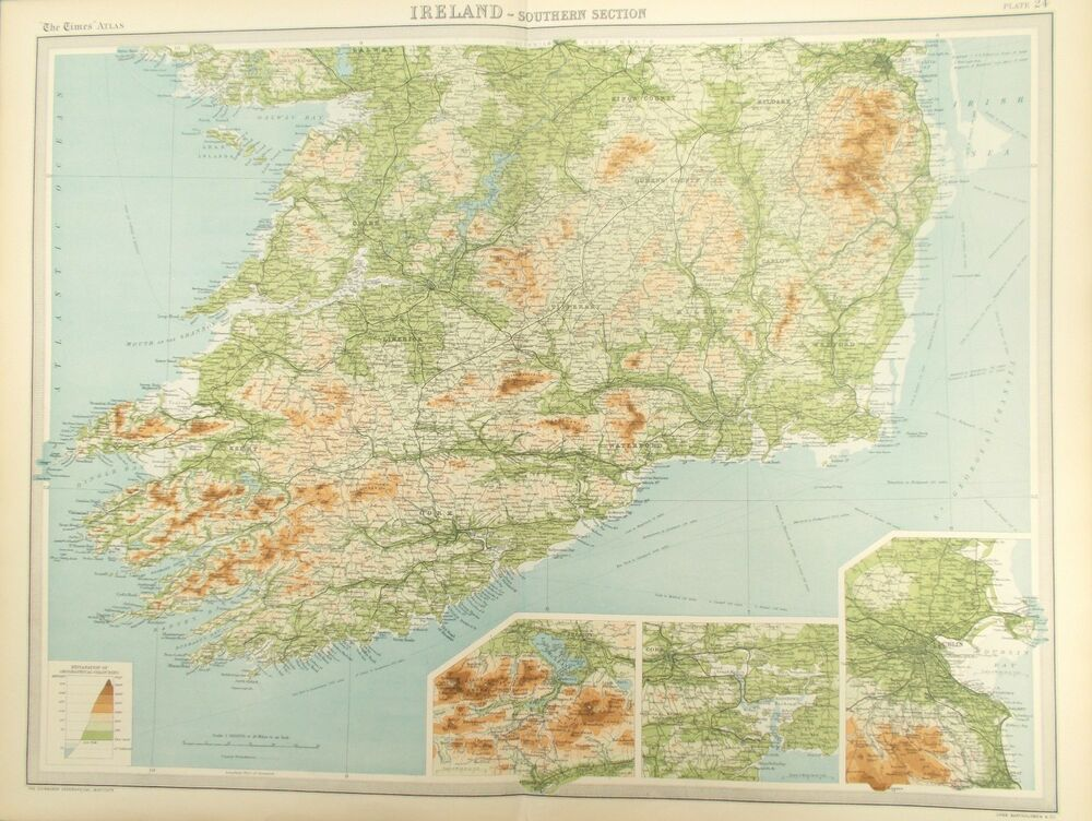 Map Of Southern Ireland 1922 Dublin Waterford Wicklow Ebay