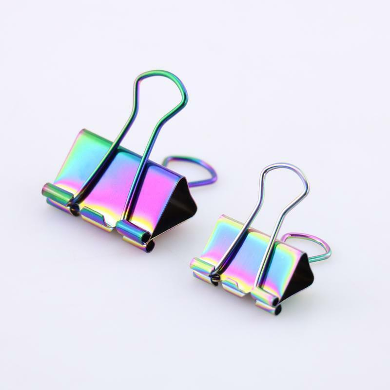 Metal Binder Clips Coloful Rainbow Color Binder Notes