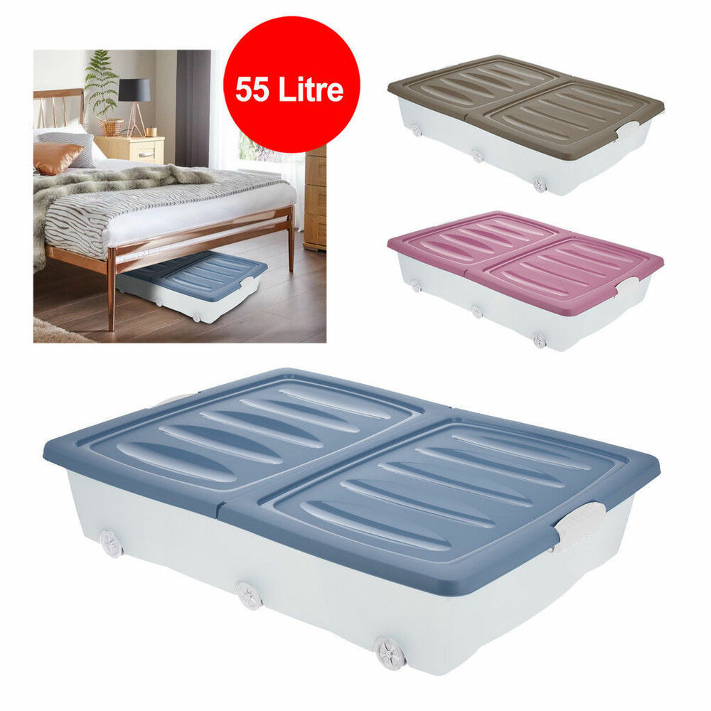 Large Under Bed Plastic Storage Drawer Container Box Wheeled Toys
