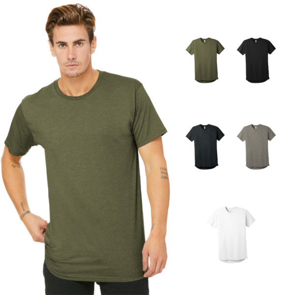 BELLA + CANVAS Men's Long Body T-Shirt Short Sleeve Crew Neck Soft Tee BC3006