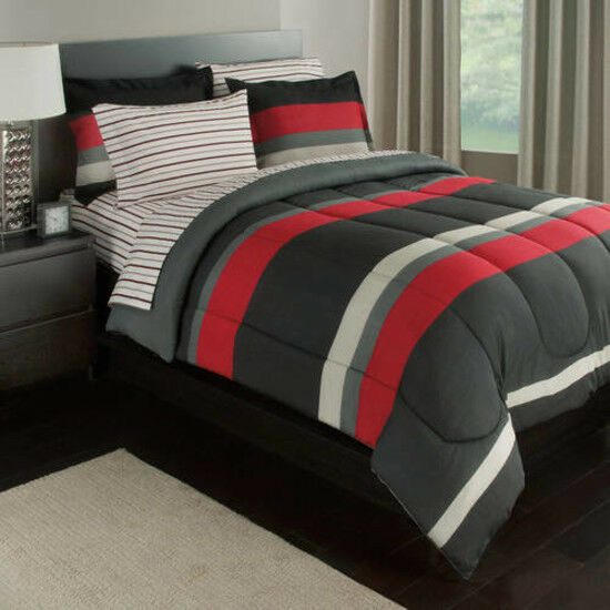 Details About Reversible Bed In A Bag Bedding Set Red And Black Queen Boy Bedroom Sets