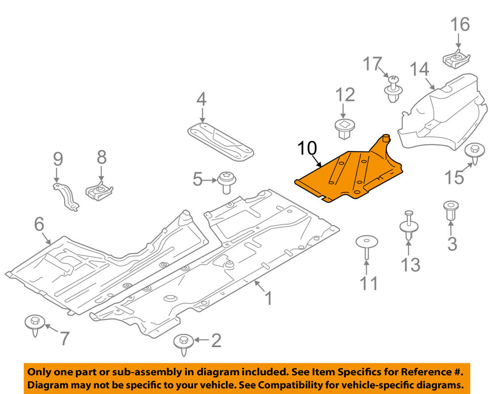 Bmw Oem 12 16 328i Floor Rails Rear Underbody Shield Left 428i Engine Diagram 51757258049 Ebay