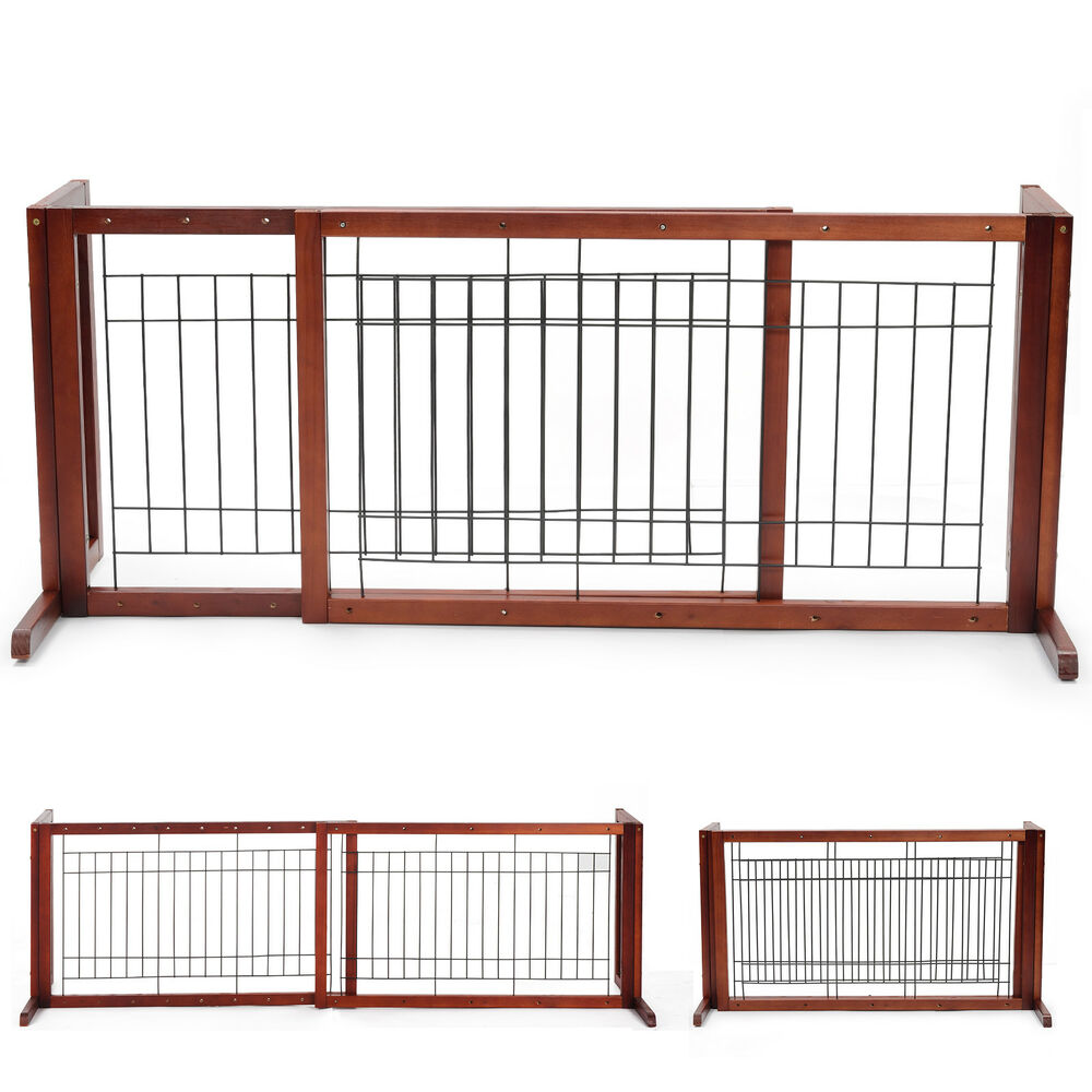 New Solid Wood Pet Fence Adjustable Dog Gate Free Standing