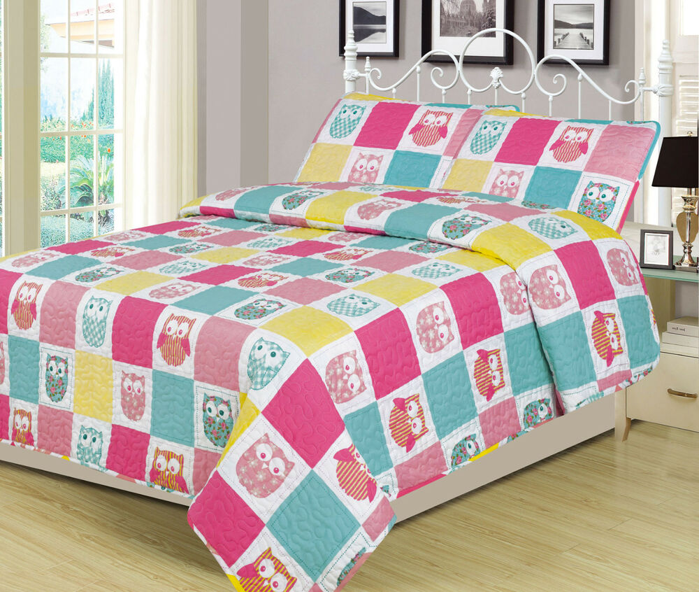 Twin Or Full Owls Bedding Quilt Bedspread Bed Set Owl Patchwork Pink