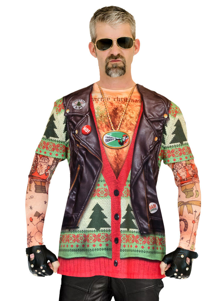 7069a36f6 Details about Ugly Christmas Sweater T Shirt Adult Motorcycle Biker Tattoo  Sleeves Faux Real