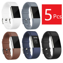 Kyпить 5 Pack Silicone Wristband Band Replacement For Fitbit Charge 2 Fitness Size L US на еВаy.соm