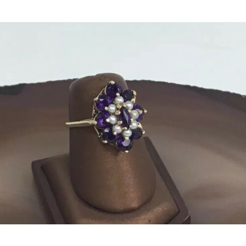vintage-estate-yellow-gold-amethyst-and-pearls-flower-ring-size-725