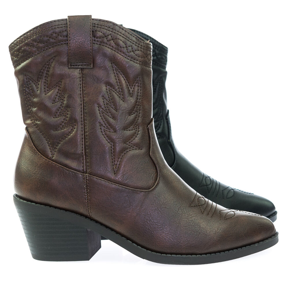 2c181398dd2 Picotee High Ankle Western Cowboy Boots, Chunky Stack Block Heel & Stitch  Detail   eBay