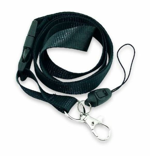 BLACK LANYARD Key chain Neck strap ID Holder Breakaway clasp SOLID color