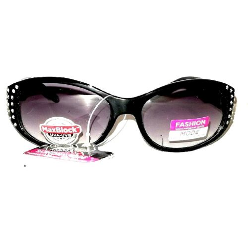 womans-black-foster-grant-lux-4-rhinestone-glitter-sport-wrap-sunglasses-100-uv