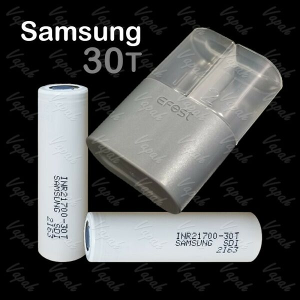 2 SAMSUNG 30T INR 21700 3000mAh/35A High Drain Rechargeable Battery / Blue Case