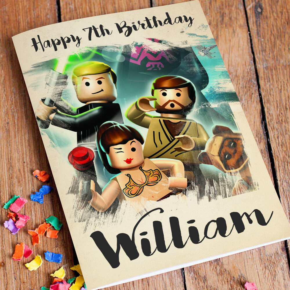 Details About STAR WARS LEGO Personalised Birthday Card FREE Shipping