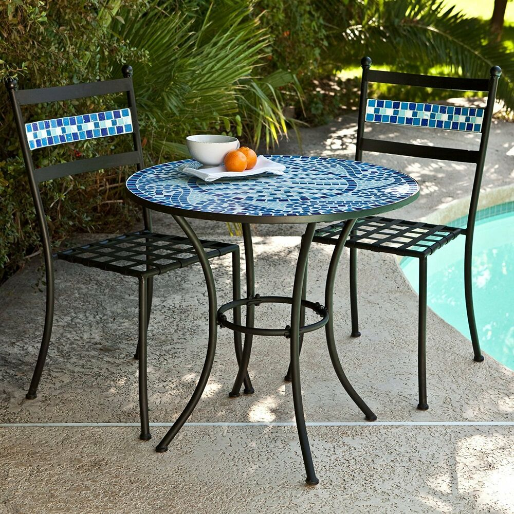 Garden Chair And Table Set On Ebay: Ocean Waves Blue Mosaic Wrought Iron Small Space Patio