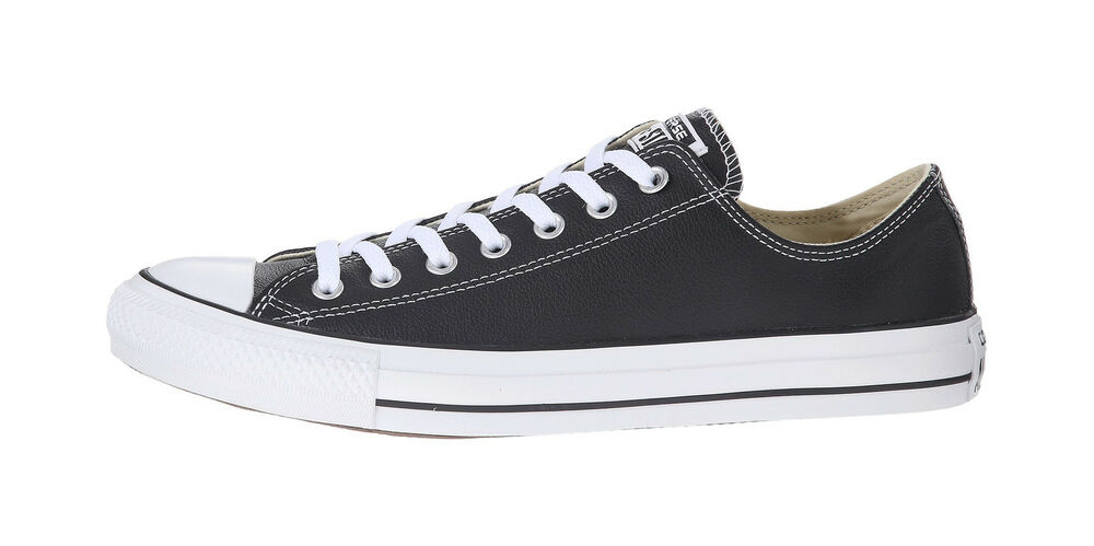 Details about Converse Shoes Chuck Taylor All Star Low Top Black Leather  Mens Womens Sneakers 17b1d79c2