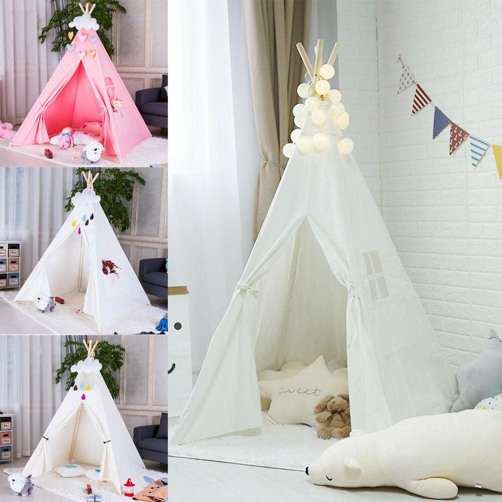 newest 16929 fcc60 New Kids Teepee wigwam childrens play tent childs garden or indoor toy 5'  Canvas   eBay