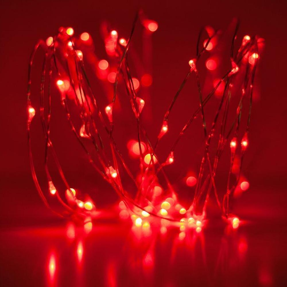 Details About 20 30 50 Led Battery Red Fairy String Lights Micro Rice Wire Copper Party